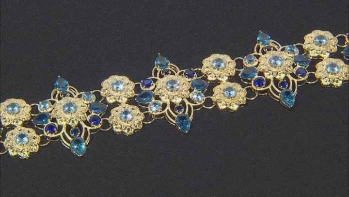 Blue Lab Created Spinel 18k Gold Over Brass Bracelet 34.90ctw