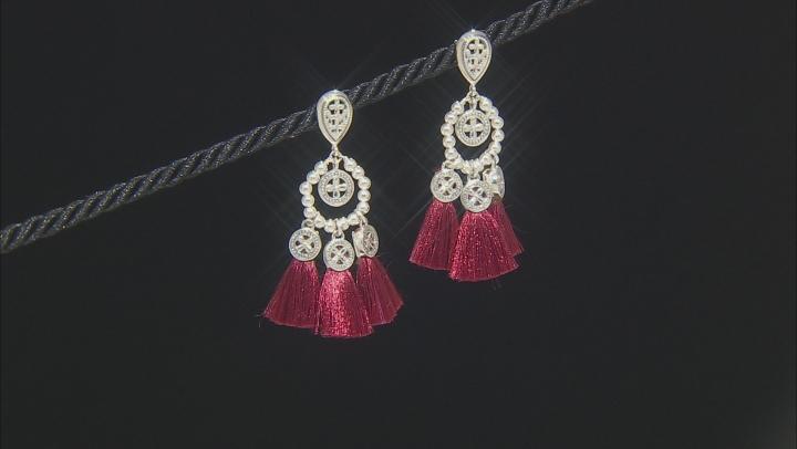 Burgundy Silk Thread Sterling Silver Tassel Earrings