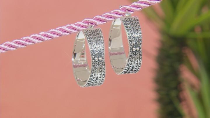 Sterling Silver African Inspired Tribal Design Hoop Earrings