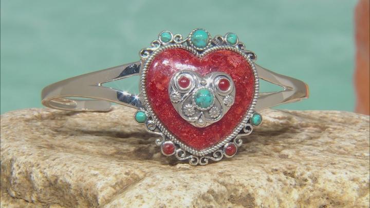 Red Sponge Coral Sterling Silver Cuff Bracelet