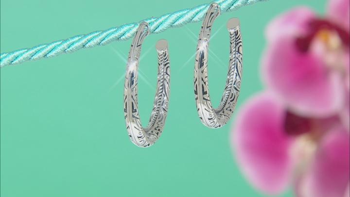 Solid Rhodium Over Sterling Silver Hoop Earrings