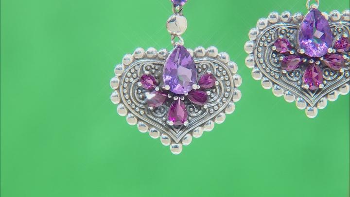 Amethyst & Rhodolite Rhodium Over Silver Earrings 7.49ctw