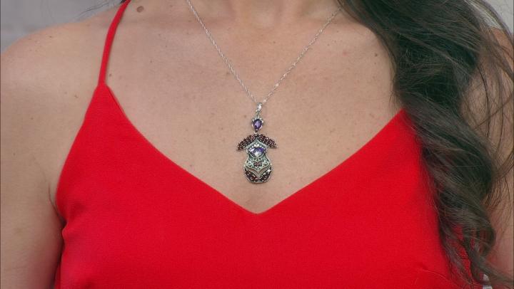 "Amethyst, Zircon, & Garnet Nesting Doll Rhodium Over Silver Pendant W/ 18"" Chain 2.51ctw"