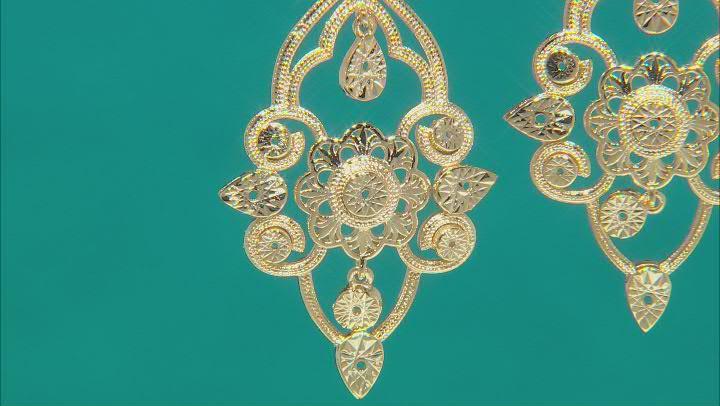 18K Yellow Gold Over Brass Earrings