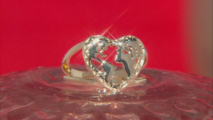 18k Yellow Gold Over Brass Heart Shape Globe Ring