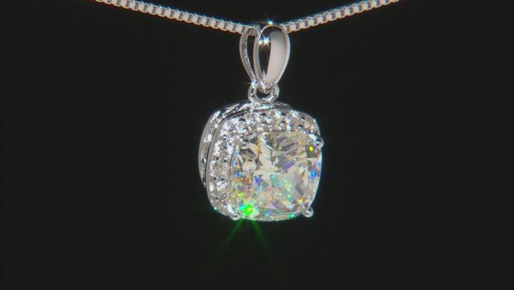 Fabulite Strontium Titanate And White Zircon Silver Pendant With Chain 3.63ctw