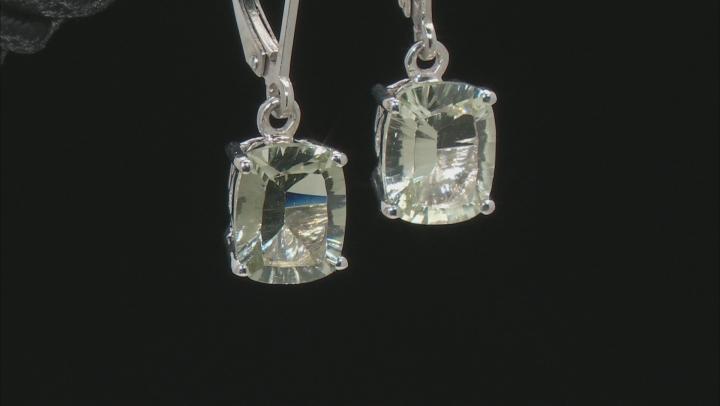 Green Prasiolite Rhodium Over Sterling Silver Earrings 3.24ctw