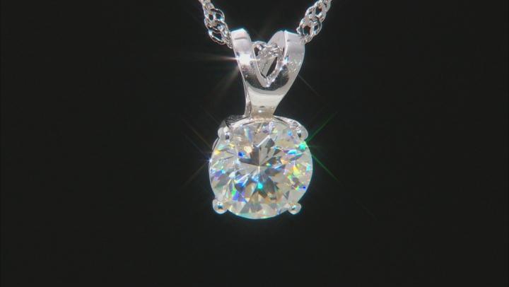 White Fabulite Strontium Titanate Rhodium Over Silver Pendant With Chain 3.00ct