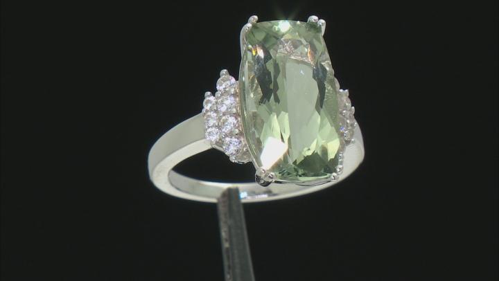 Green Prasiolite Sterling Silver Ring 6.28ctw