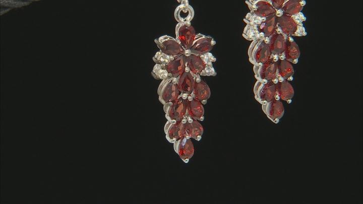 Red Garnet Rhodium Over Sterling Silver Dangle Earrings 7.43ctw