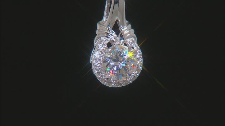 White Fabulite Strontium Titanate And White Zircon Silver Pendant With Chain 1.26ctw
