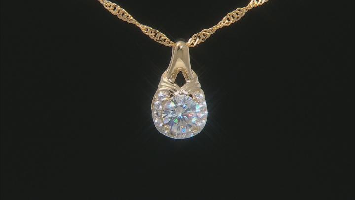 Fabulite Strontium Titanate And White Zircon 18k gold over sterling silver pendant 1.26ctw