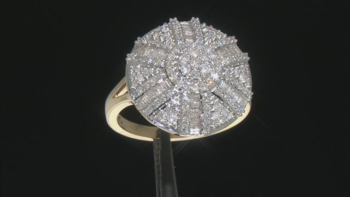 White Diamond 10k Yellow Gold Ring 0.90ctw