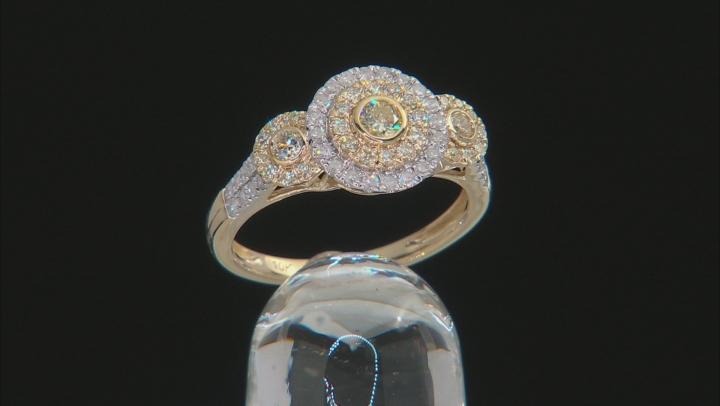 Natural Yellow And White Diamond 10K Yellow Gold Ring 0.75ctw