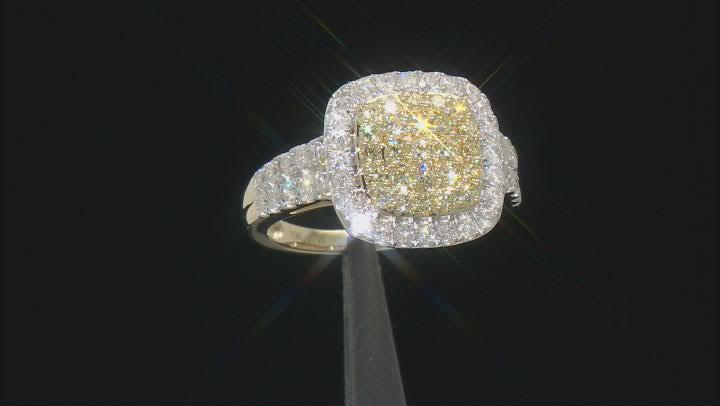 Natural Yellow And White Diamond 10K Yellow Gold Ring 1.50ctw