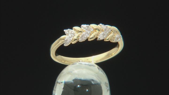 White Diamond 10K Yellow Gold Ring 0.10ctw