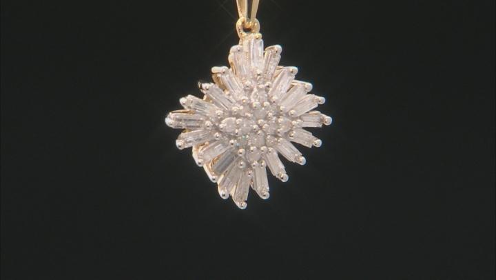 White Diamond 10K Yellow Gold Pendant With 18