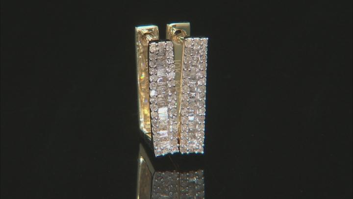White Diamond 10K Yellow Gold Earrings 0.37ctw