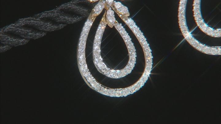 White Diamond 10K Yellow Gold Earrings 1.32ctw