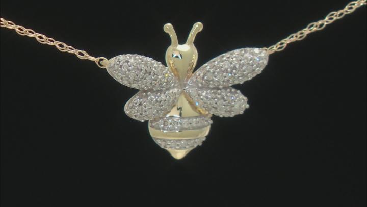 White Diamond 10K Yellow Gold Necklace Bee 0.16ctw