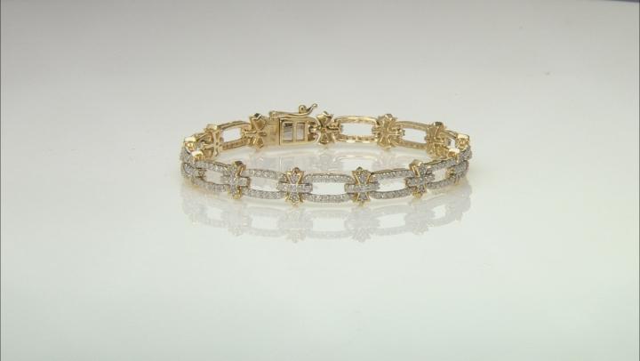 White Diamond 10K Yellow Gold Bracelet 2.50ctw