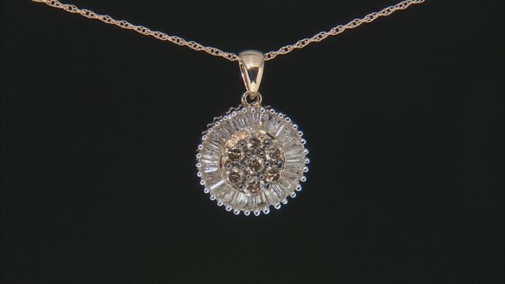 Champagne & White Diamond 10K Yellow Gold Pendant 1.40ctw