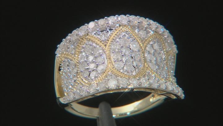 White Diamond 10K Yellow Gold Wide Band Ring 1.50ctw