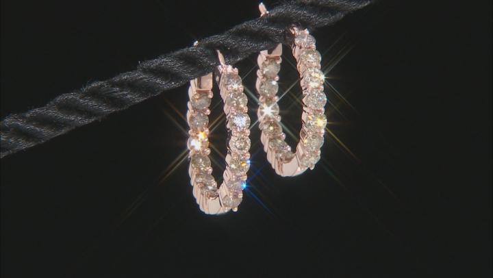 Champagne Diamond 10K Rose Gold Earrings 1.70ctw