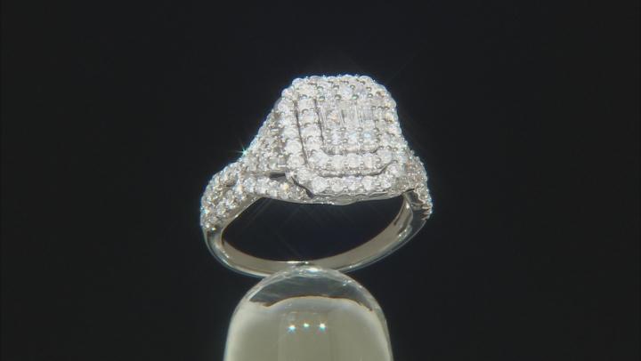 White Diamond 10k White Gold Cluster Ring 1.25ctw