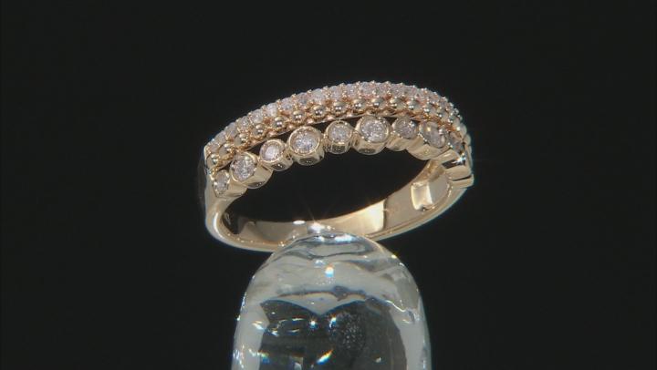 White Diamond 10K Yellow Gold Band Ring 0.39ctw