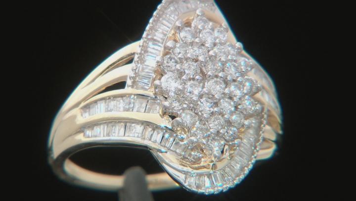White Diamond 10K Yellow Gold Cocktail Ring 1.00ctw