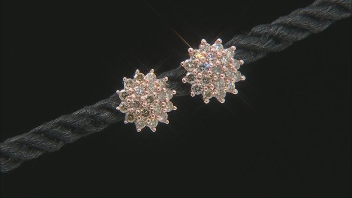 Champagne Diamond 10K Rose Gold Cluster Earrings 1.00ctw