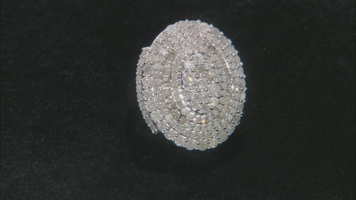 White Diamond 10K Yellow Gold Cocktail Ring 2.83ctw