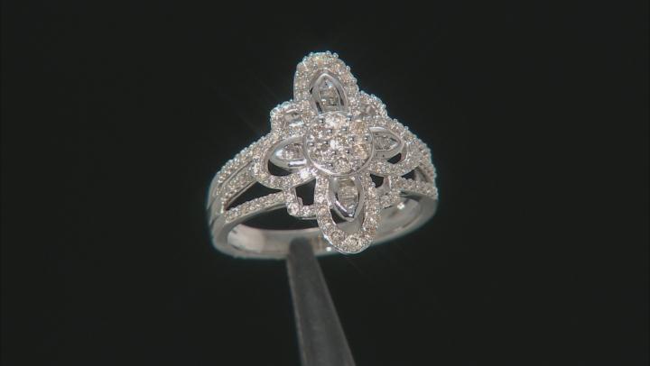 Diamond 10K White Gold Cocktail Ring 0.75ctw