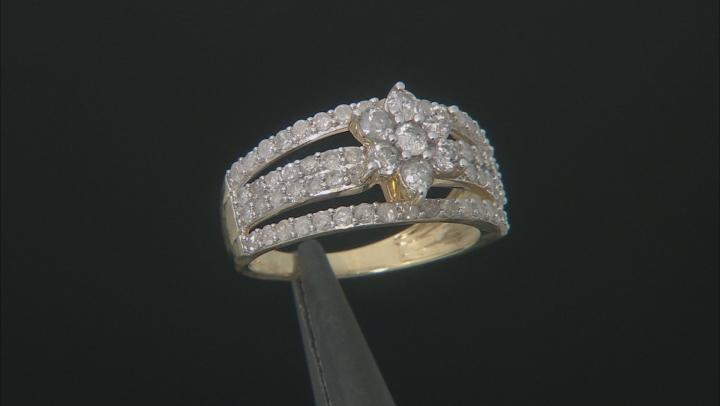 White Diamond 10K Yellow Gold Cluster Ring 1.25ctw