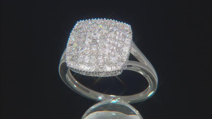 White Diamond 10k White Gold Cluster Ring 0.80ctw