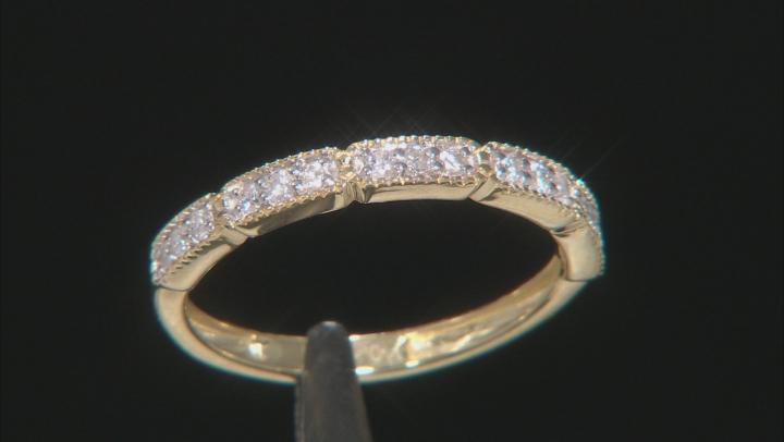 White Diamond 10K Yellow Gold Band Ring 0.20ctw