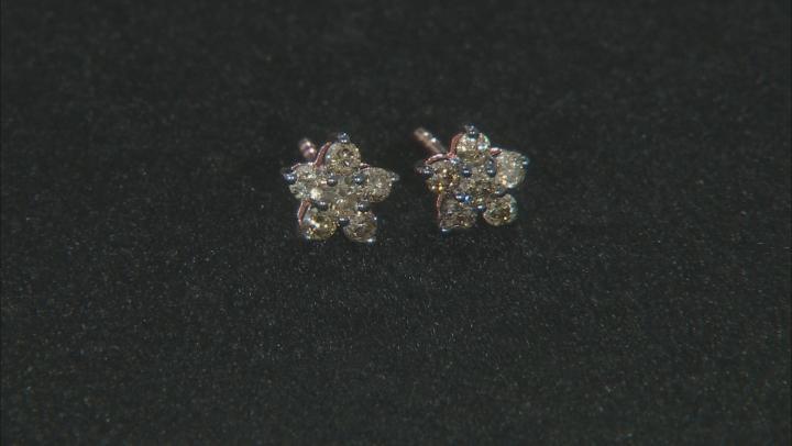 Champagne Diamond 10K Rose Gold Flower Stud Earrings 0.40ctw