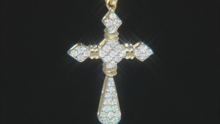 White Diamond 10K Yellow Gold Cross Pendant 0.20ctw