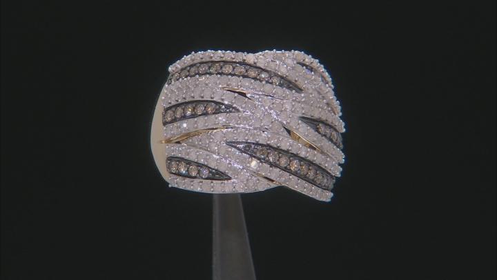 Champagne & White Diamond 10K Yellow Gold Cocktail Ring 1.50ctw