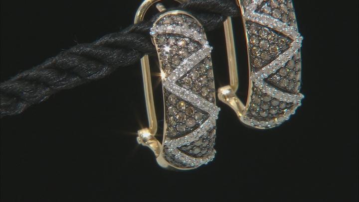 Champagne & White Diamond 10K Yellow Gold J-Hoop Earrings 1.45ctw