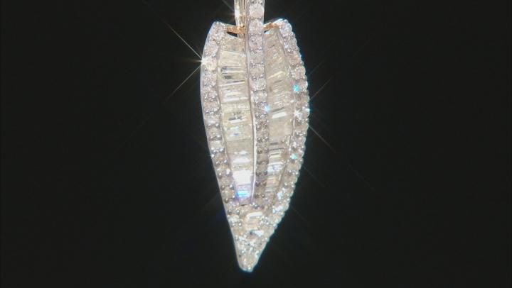 White Diamond 10K Yellow Gold Leaf Pendant With Chain 1.15ctw