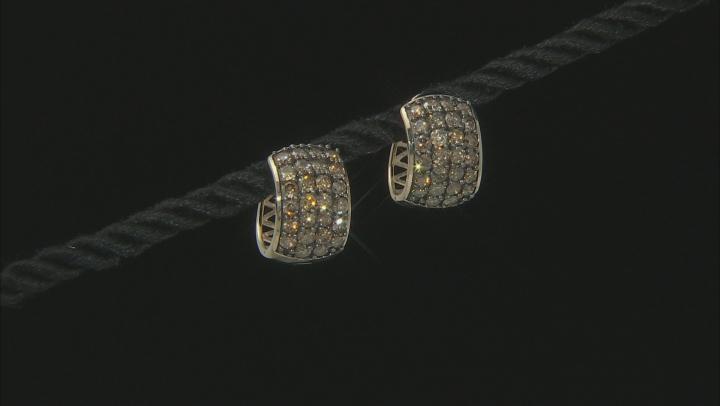 Champagne Diamond 10K Yellow Gold Hoop Earrings 2.05ctw