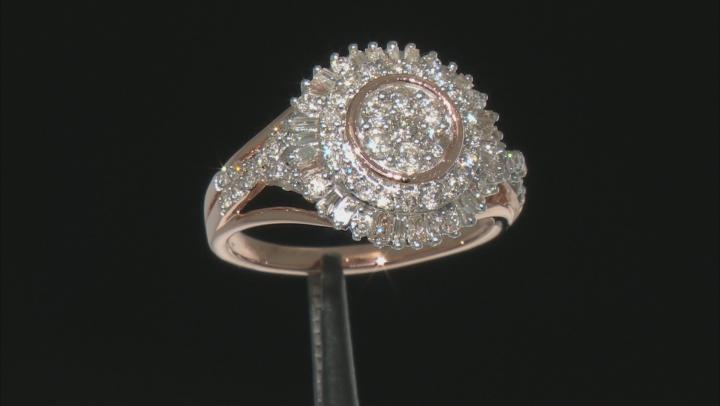 White Diamond 10k Rose Gold Cluster Ring 1.00ctw