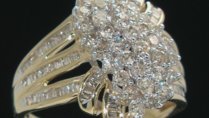 White Diamond 10k Yellow Gold Cluster Ring 2.00ctw