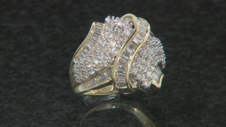 White Diamond 10k Yellow Gold Crossover Ring 2.00ctw