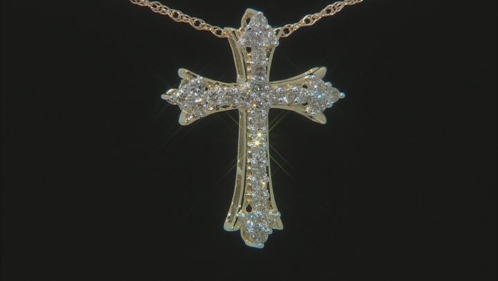 "Diamond 10k Yellow Gold Cross Pendant With 18"" Rope Chain 0.50ctw"