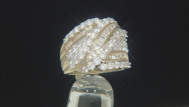 White Diamond 10k Yellow Gold Crossover Ring 3.00ctw