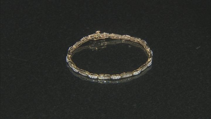 White Diamond 10k Yellow Gold Tennis Bracelet 1.55ctw