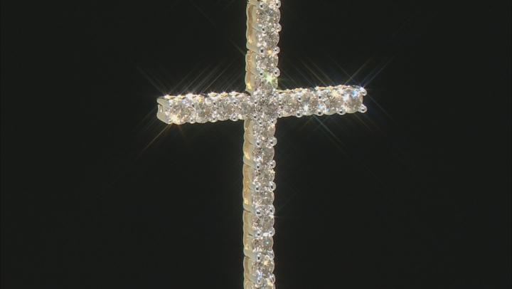 "Diamond 10k Yellow Gold Cross Pendant With 18"" Box Chain 1.00ctw"